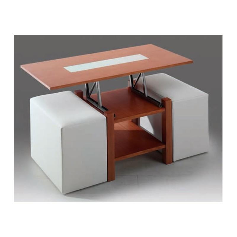 Mesa de centro elevable mod roma puffs incluidos furnet for Mesas auxiliares elevables