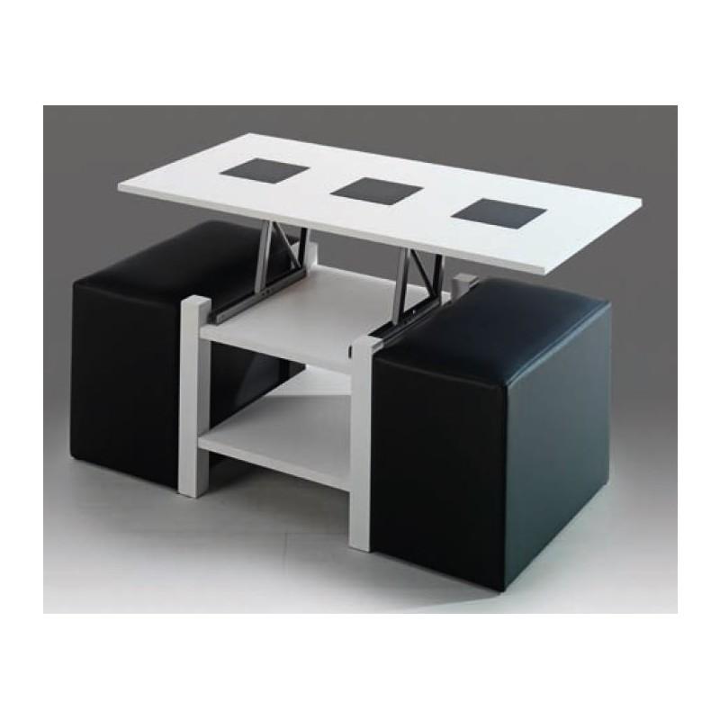 Mesa de centro elevable mod mil n puffs incluidos furnet - Mesa de centro elevable conforama ...