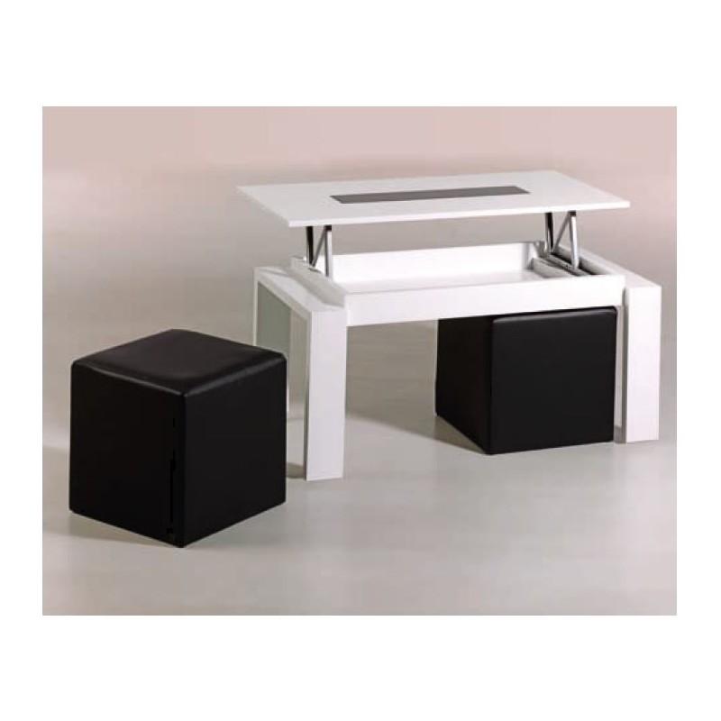 Mesa de centro elevable mod n poles puffs incluidos - Mesas de centro elevables merkamueble ...