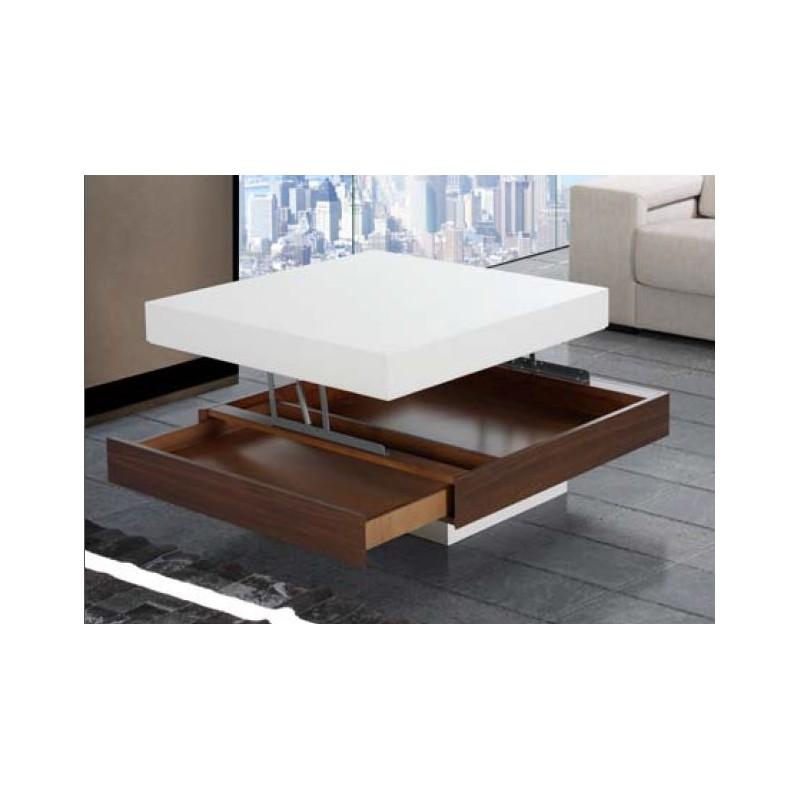Mesa de centro elevable mod casio cuadrada furnet - Mesa centro elevable y extensible ...