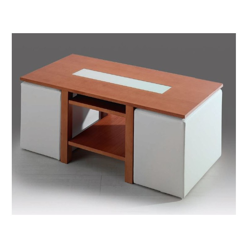 Mesa de centro elevable mod roma puffs incluidos furnet for Mesa forja elevable