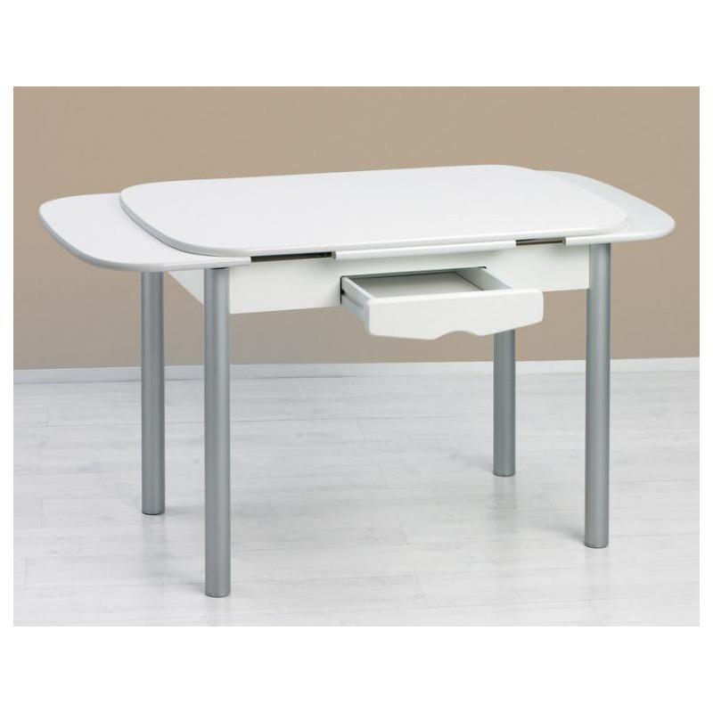 Mesa de cocina mod sevilla semi ovalada extensible furnet for Mesa cocina blanca