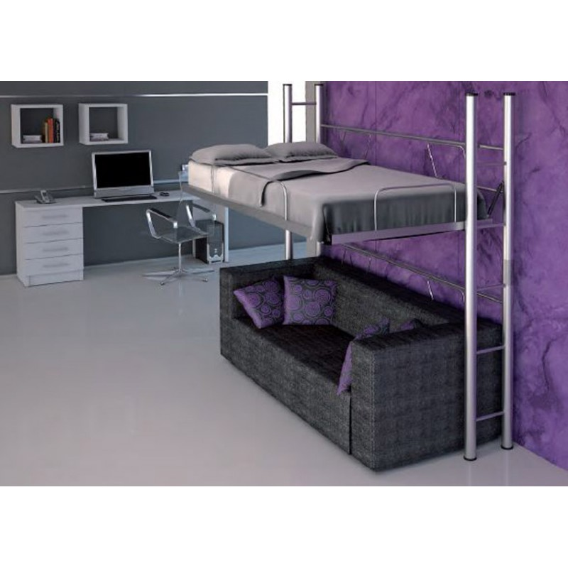 Cama alta horizontal abatible mod cat spacio 111 d furnet for Estructura cama 90x190