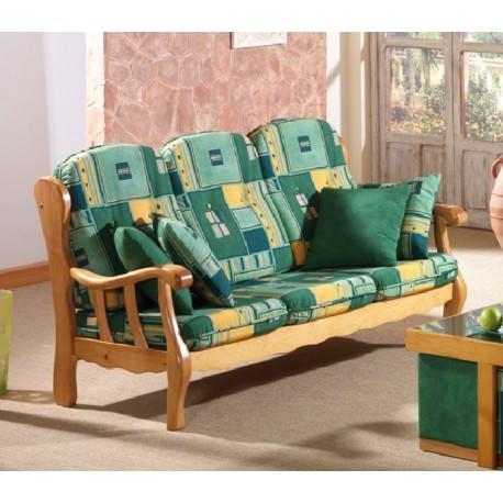 Sof 3 plazas provenzal mod j06 furnet - Sofas de madera de pino ...
