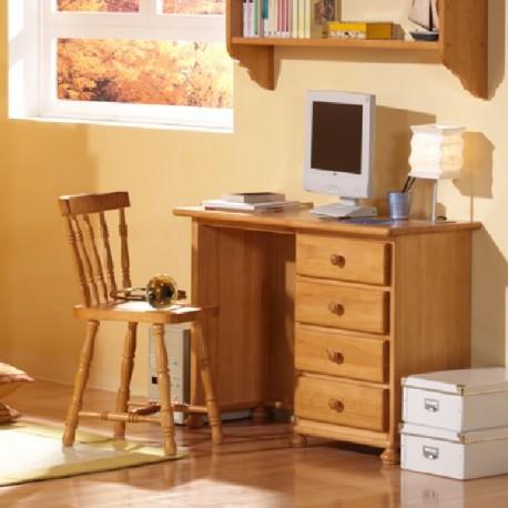 Escritorio pino 4 cajones furnet for Mesa escritorio con cajones