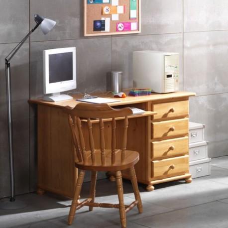 Mesa estudio pino 4 cajones furnet - Escritorio de pino ...