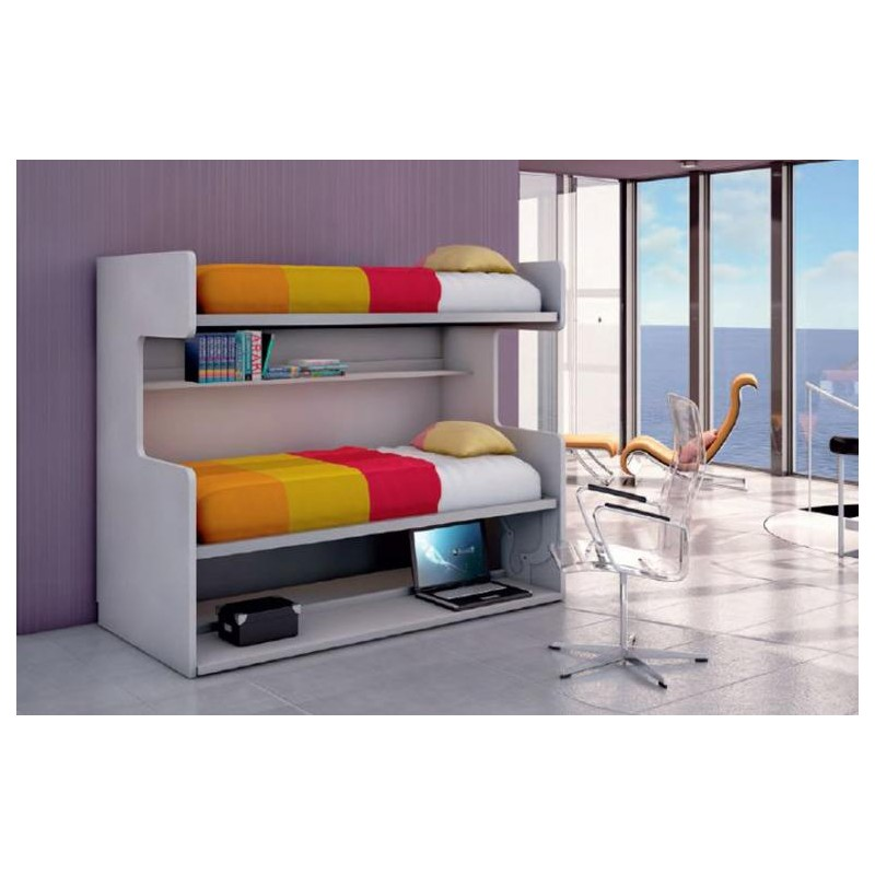 Litera horizontal abatible con mesa estudio mod parrot for Mesas de estudio para espacios pequenos