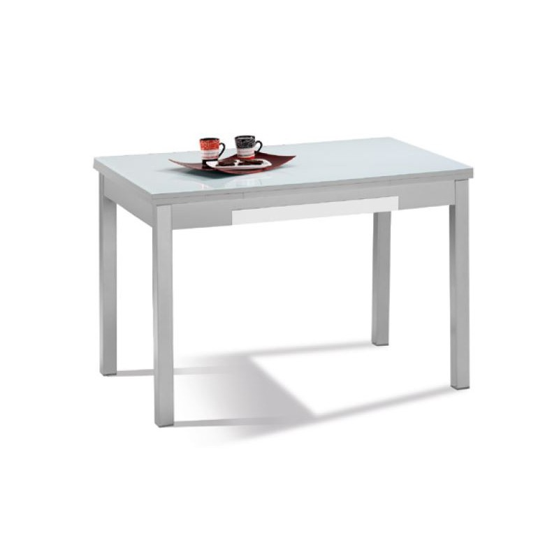 Mesa de cocina mod ibiza cristal extensible furnet for Mesas de cocina blancas y madera