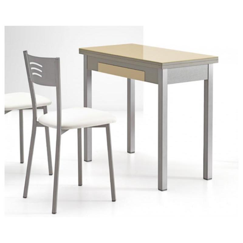 Mesa de cocina mod ibiza cristal libro furnet for Mesas para cocinas estrechas