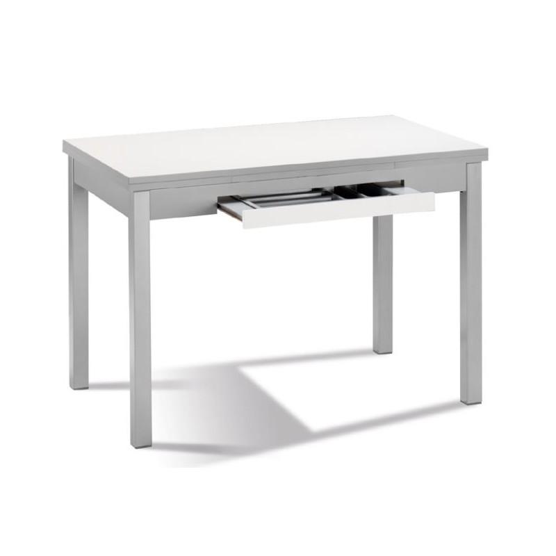 Mesa de cocina mod ibiza laminado extensible furnet for Mesas para cocinas estrechas