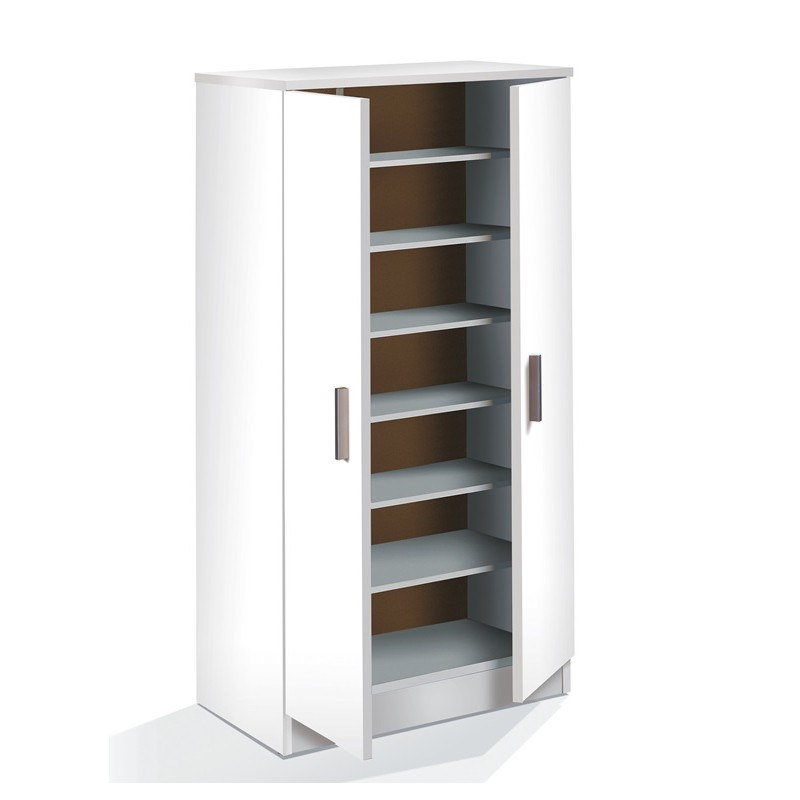 Armario zapatero mod coquet blanco 2 puertas furnet for Armario zapatero pvc
