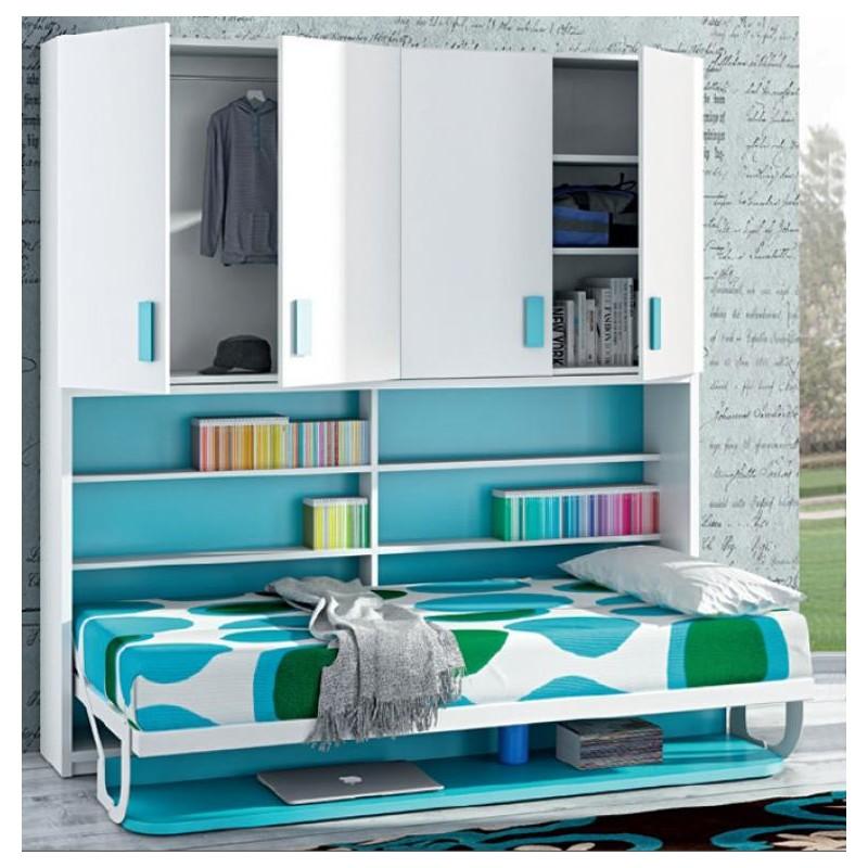 Cama horizontal abatible con escritorio y armarios mod - Armarios con cama incorporada ...