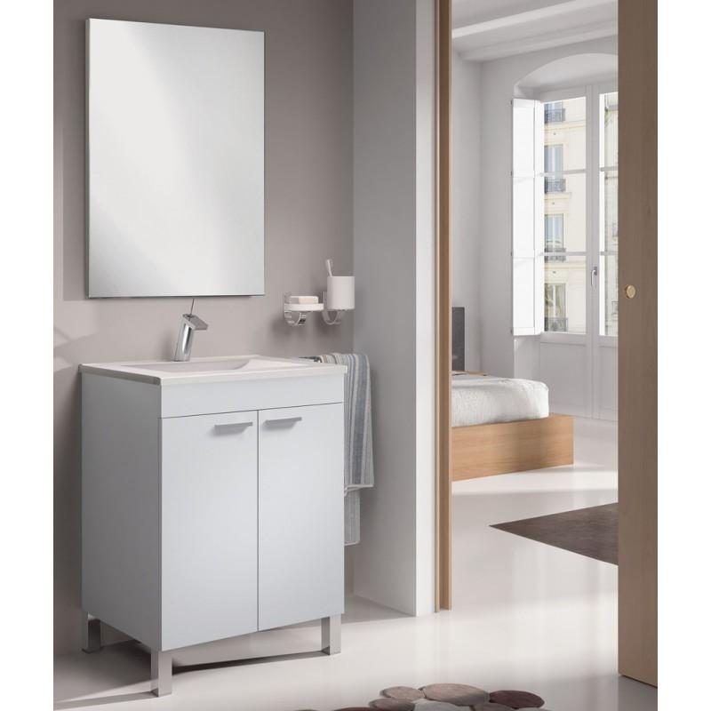 Mueble ba o 2 puertas con espejo mod algarve furnet for Mueble zapatero para bano