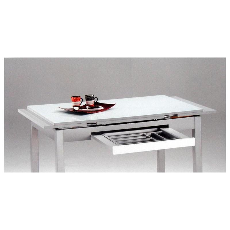 Mesa de cocina mod ibiza cristal extensible furnet - Mesas de forja y cristal ...